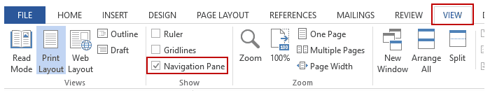 How to Delete a blank page in word - Navigation Pane