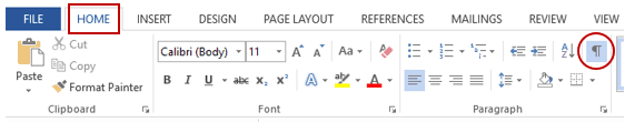 How to Delete a blank page in word - non-printing icon in Home Tab