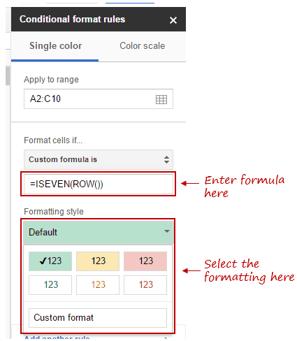 Color Alternate Rows in Google Sheets - format