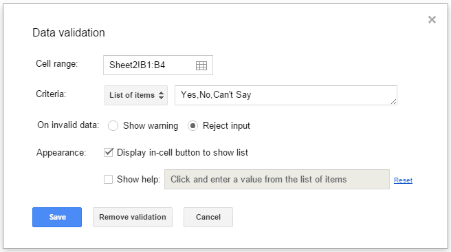 Drop Down List in Google Sheets - enter items
