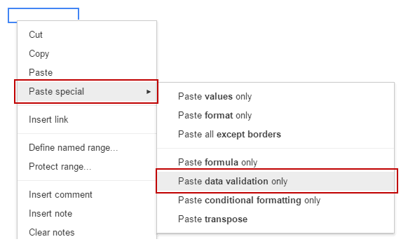 Drop Down List in Google Sheets - paste data validation