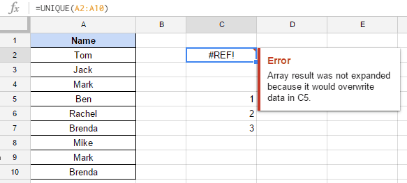 How to Remove Duplicates in Google Sheets - Error