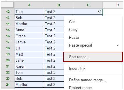 Sort Data in Google Sheets - multilevel - right click
