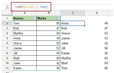 Sort Data in Google Sheets - sort function
