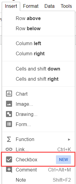 Insert checkbox In Google Sheets - checkmark option in drop down