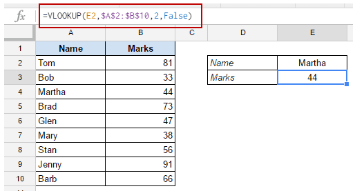 Google Sheets VLOOKUP - example 1