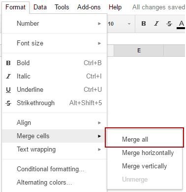 merge cells google sheets