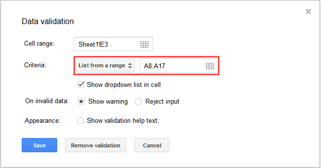Dependent Drop Down List in Google Sheets - DV criteira