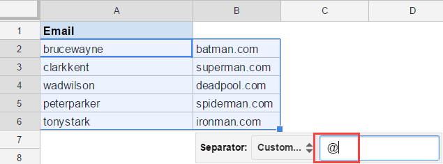 Split Text to Columns in Google Sheets - at the rate