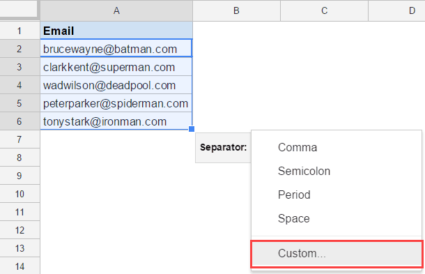 Split Text to Columns in Google Sheets - custom