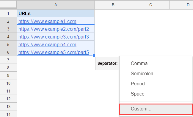 Split Text to Columns in Google Sheets - url custom