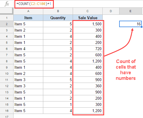 Count of Cells that have numbers in it - Creating Dynamic Named Range in Google Sheets