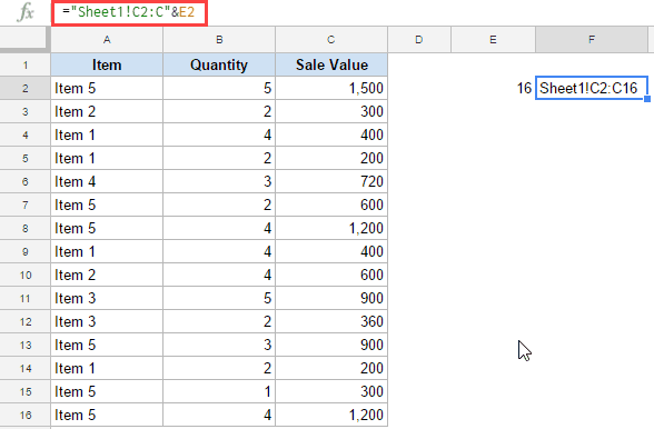 Dynamic Named in Google Sheets - Reference using Concatenate