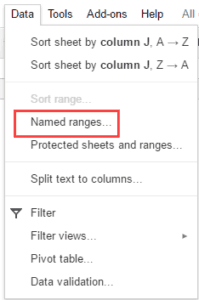 Named Ranges Option in the Data Drop Down