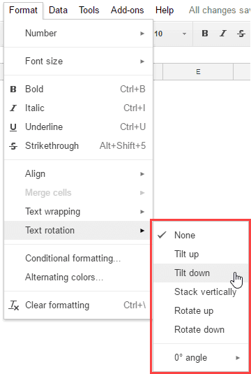 Rotating Text in Google Sheets - Format Options