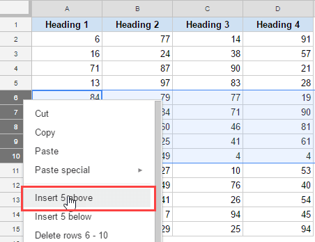 Select insert rows above to insert multiple rows in Google Sheets