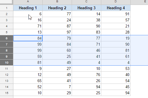 Select rows where you want to insert multiple rows in Google Sheets