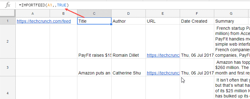 IMPORTFEED function in Google Sheets - fetching all items using cell reference