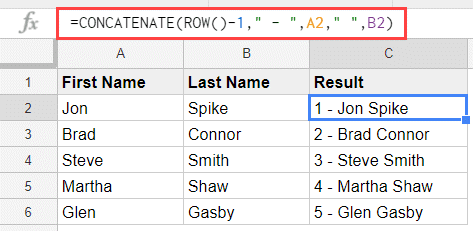 concatenate a running number to names