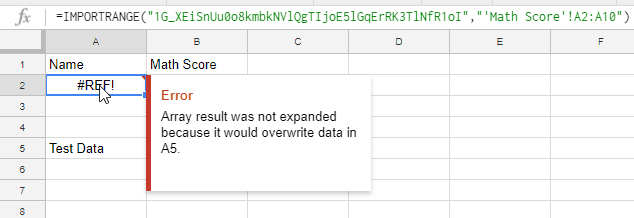 Error in cell while using the IMPORTRANGE formula in Google Sheets