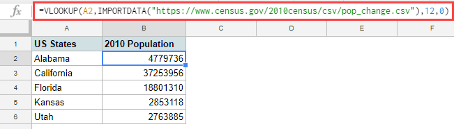Fetching specific column data in Google Sheets using IMPORTDATA function