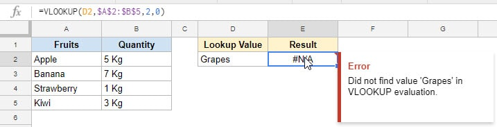 NA error in Google Sheets