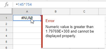 NUM Error in Google Sheets - Large Number