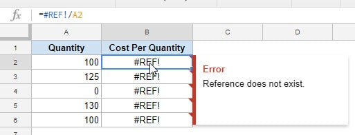 REF Error in Google Sheets