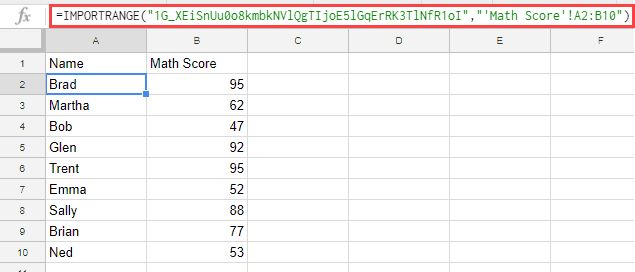 Result of the IMPORT Range function in Google Sheets