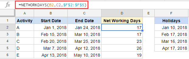 Using NETWORKDAYS Formula to get number of working days