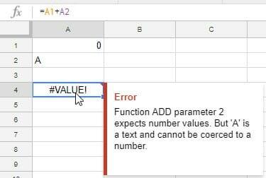 if function value error google sheets