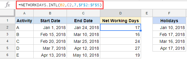 calculating working days in Google Sheets - weekends are friday and saturday