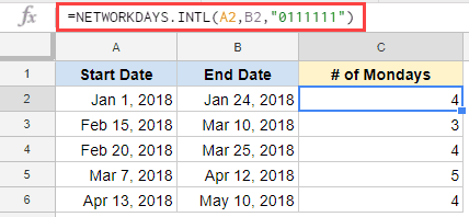 number of mondays beyween two dates in google sheets
