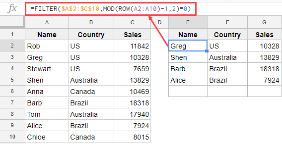 Filter Even Numbered Rows in Google Sheets