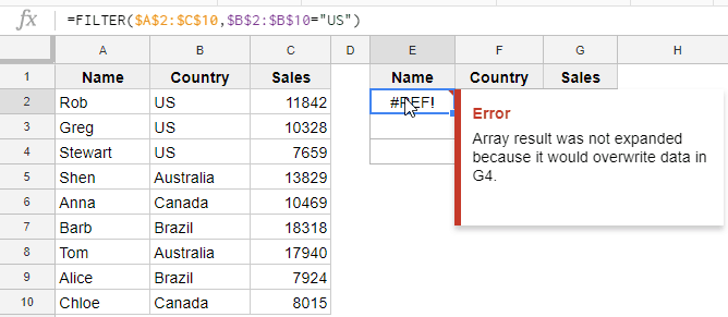 Filter Function in Google Sheets - Example 1 - Error overwrite