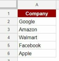 Create Hyperlinks in Google Sheets - Dataset