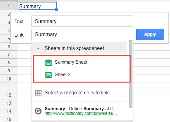 Create Hyperlinks in Excel - to a sheet in the same Google Sheets document