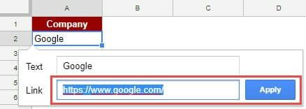 Create Hyperlinks in Google Sheets - insert link url