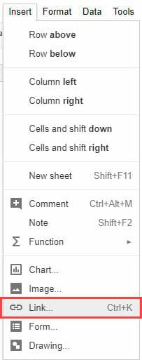 Hyperlinks in Google Sheets - Link option in Insert tab