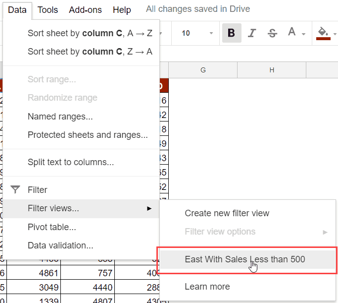 Accessing Filter Views in Google Sheets