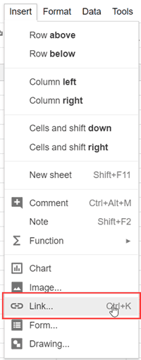 Create link in Google Sheets