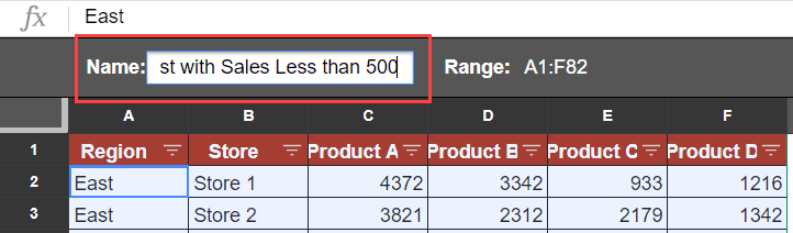 Name the Filter Views in Google Sheets
