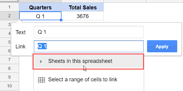 Select Sheets in this spreadsheet
