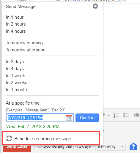 Schedule recurring message in Gmail using Boomerang