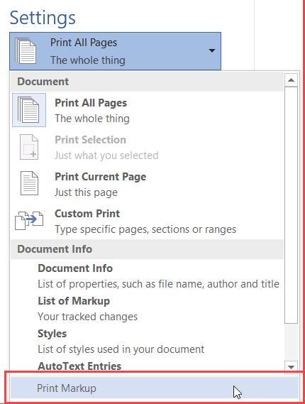 Microsoft Word 2013 - Remove Uncheck print markup