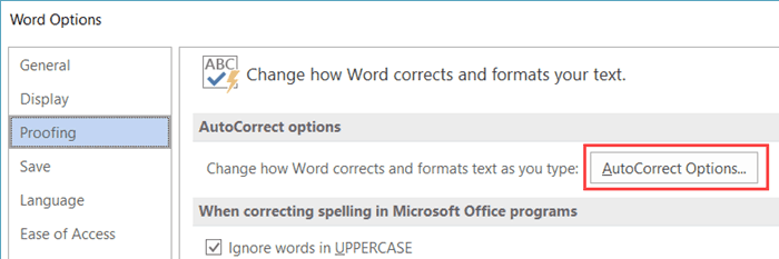 Microsoft Word 2016 - Autocorrect Options Button