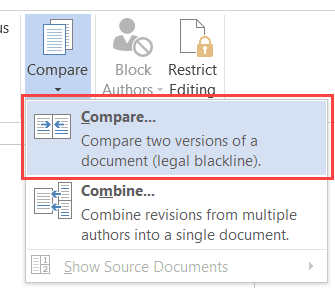 Microsoft Word 2016 - Compare two documents