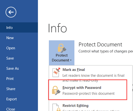 Microsoft Word 2016 - Encrypt with Password