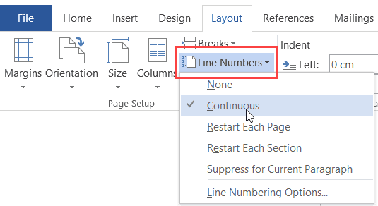 Microsoft Word 2016 - Insert Line Numbers in the document