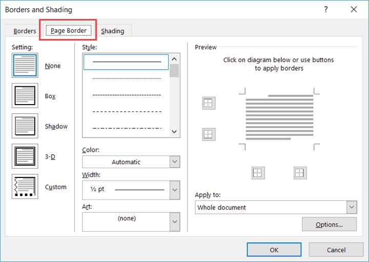 Microsoft Word 2016 - Page Border tab selected